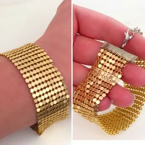 Gold Chainmail Mesh 70's Style Bracelet